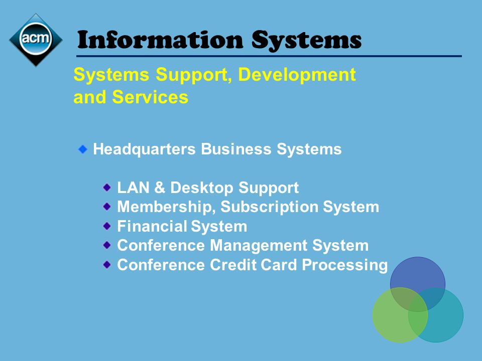 Information Systems Headquarters Business Systems LAN & Desktop Support Membership, Subscription System Financial System Conference Management System Conference Credit Card Processing Systems Support, Development and Services
