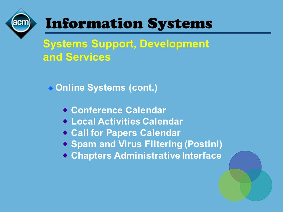 Information Systems Online Systems (cont.) Conference Calendar Local Activities Calendar Call for Papers Calendar Spam and Virus Filtering (Postini) Chapters Administrative Interface Systems Support, Development and Services