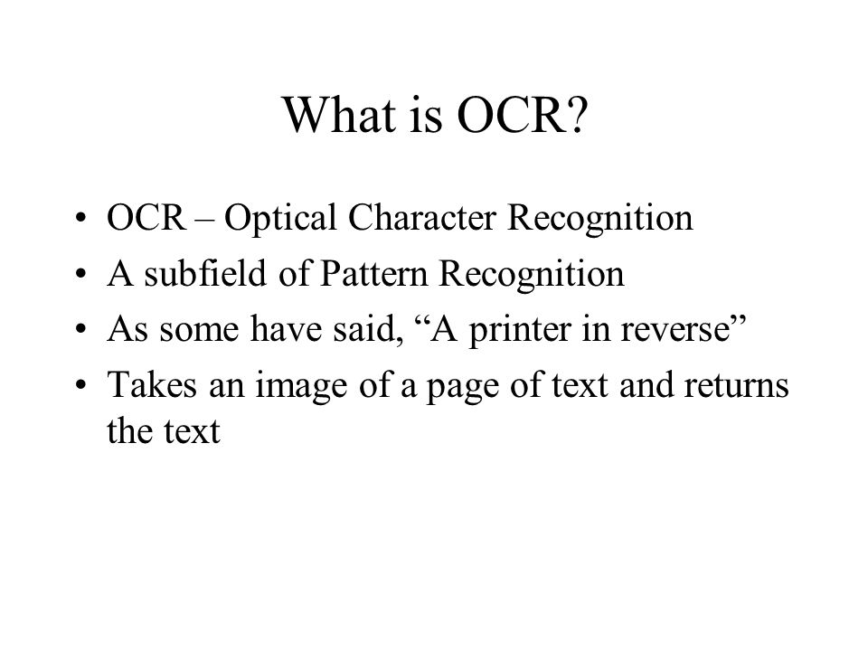 What is OCR.