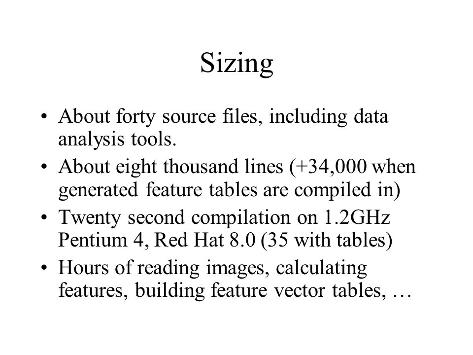 Sizing About forty source files, including data analysis tools.