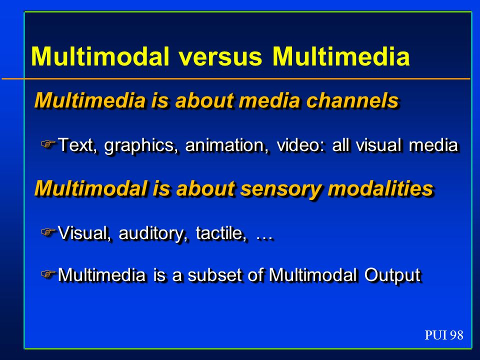 PUI 98 Multimodal versus Multimedia Multimedia is about media channels Text, graphics, animation, video: all visual media Text, graphics, animation, video: all visual media Multimodal is about sensory modalities Visual, auditory, tactile, … Visual, auditory, tactile, … Multimedia is a subset of Multimodal Output Multimedia is a subset of Multimodal Output Multimedia is about media channels Text, graphics, animation, video: all visual media Text, graphics, animation, video: all visual media Multimodal is about sensory modalities Visual, auditory, tactile, … Visual, auditory, tactile, … Multimedia is a subset of Multimodal Output Multimedia is a subset of Multimodal Output