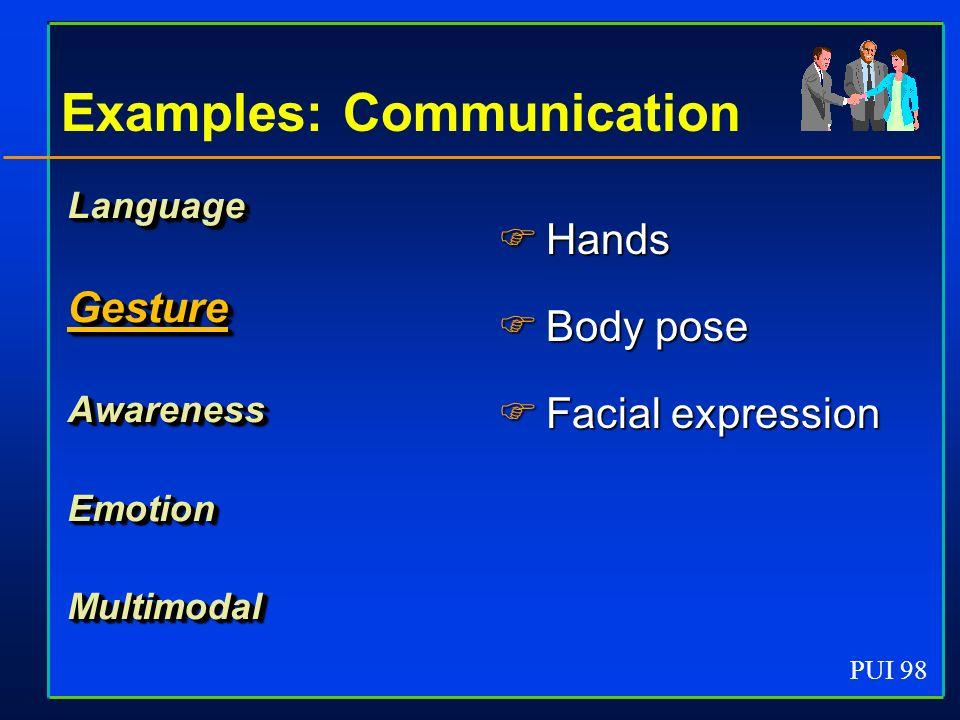 PUI 98 Examples: Communication LanguageGestureAwarenessEmotionMultimodal Hands Hands Body pose Body pose Facial expression Facial expression