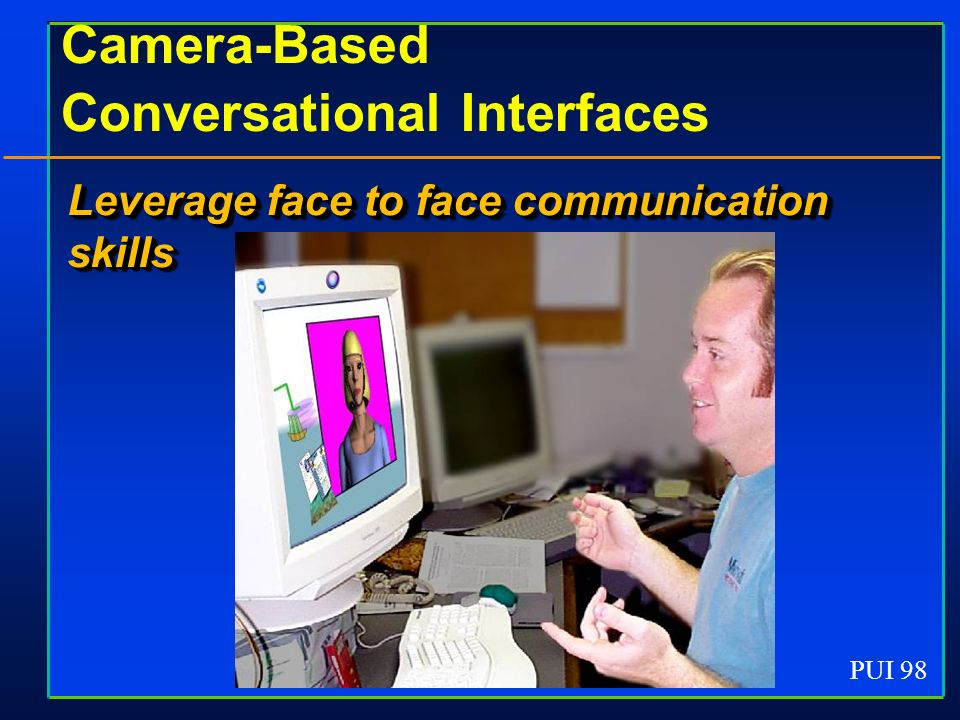 PUI 98 Camera-Based Conversational Interfaces Leverage face to face communication skills