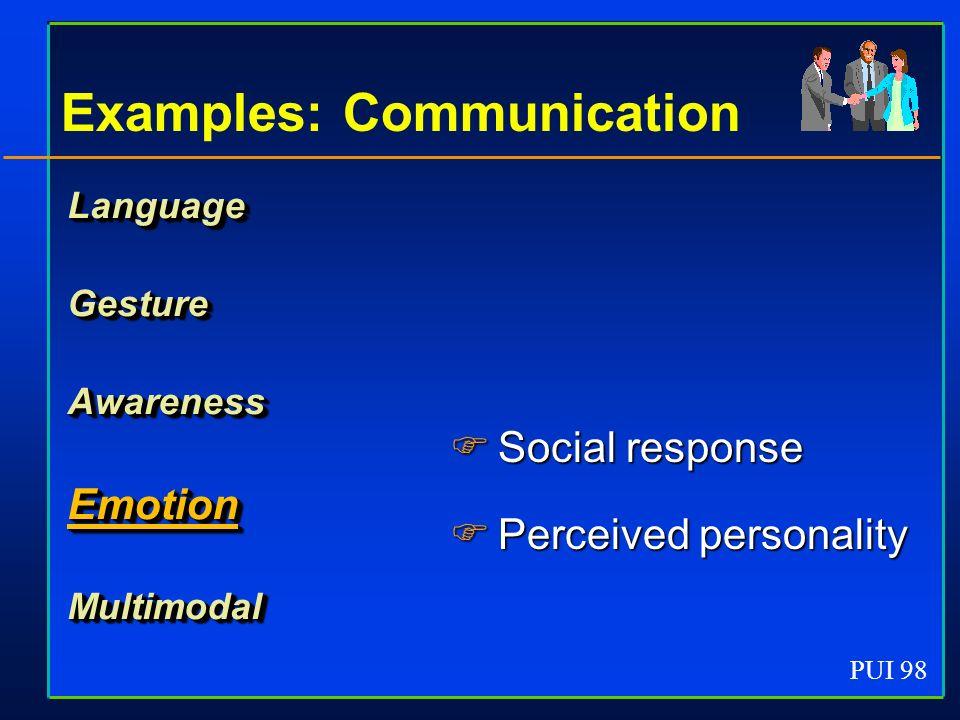 PUI 98 Examples: Communication LanguageGestureAwarenessEmotionMultimodal Social response Social response Perceived personality Perceived personality