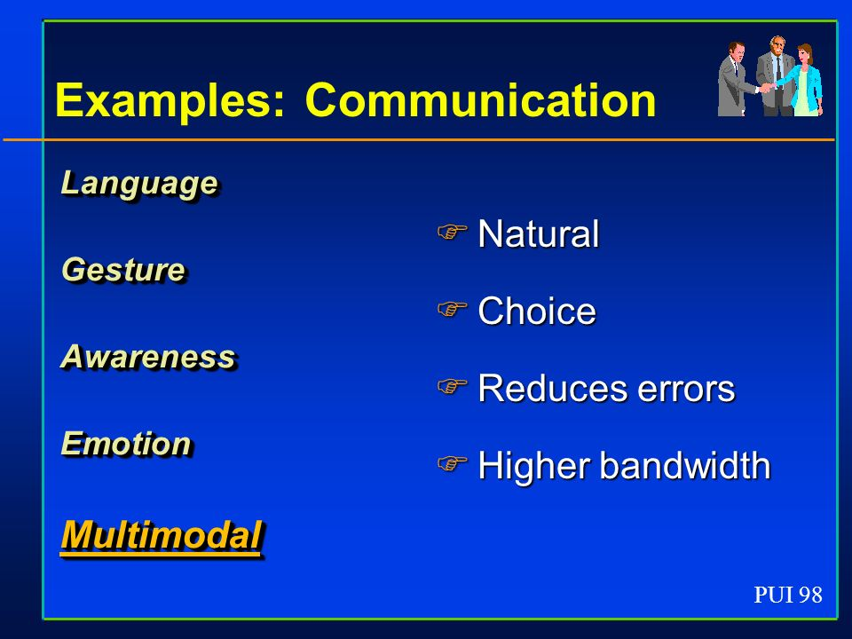 PUI 98 Examples: Communication LanguageGestureAwarenessEmotionMultimodal Natural Natural Choice Choice Reduces errors Reduces errors Higher bandwidth