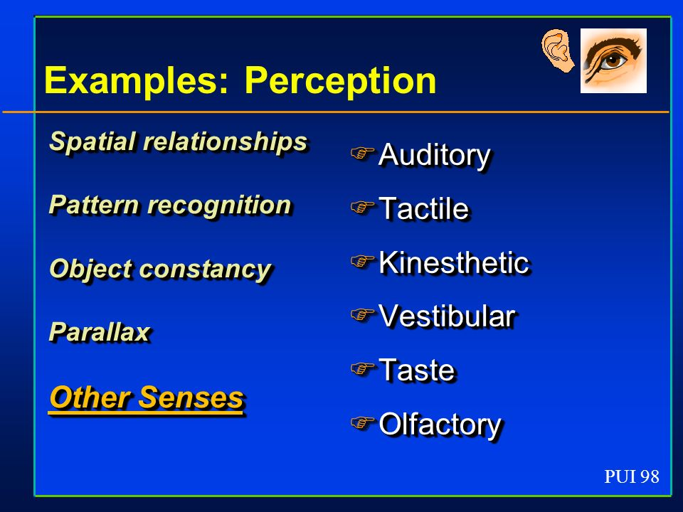 PUI 98 Examples: Perception Spatial relationships Pattern recognition Object constancy Parallax Other Senses Spatial relationships Pattern recognition