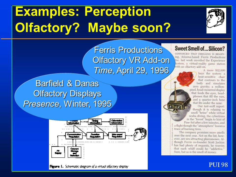 PUI 98 Examples: Perception Olfactory? Maybe soon? Ferris Productions Olfactory VR Add-on Time, April 29, 1996 Barfield & Danas Olfactory Displays Pre