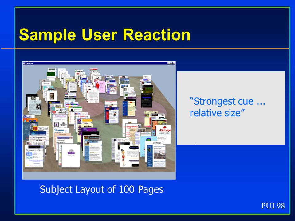 PUI 98 Sample User Reaction Subject Layout of 100 Pages Strongest cue... relative size