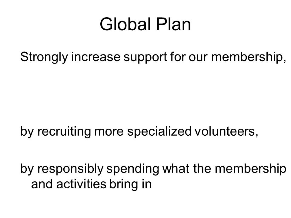 Global Plan Strongly increase support for our membership, by recruiting more specialized volunteers, by responsibly spending what the membership and activities bring in