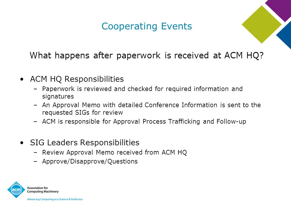 Cooperating Events What happens after paperwork is received at ACM HQ? ACM HQ Responsibilities –Paperwork is reviewed and checked for required informa