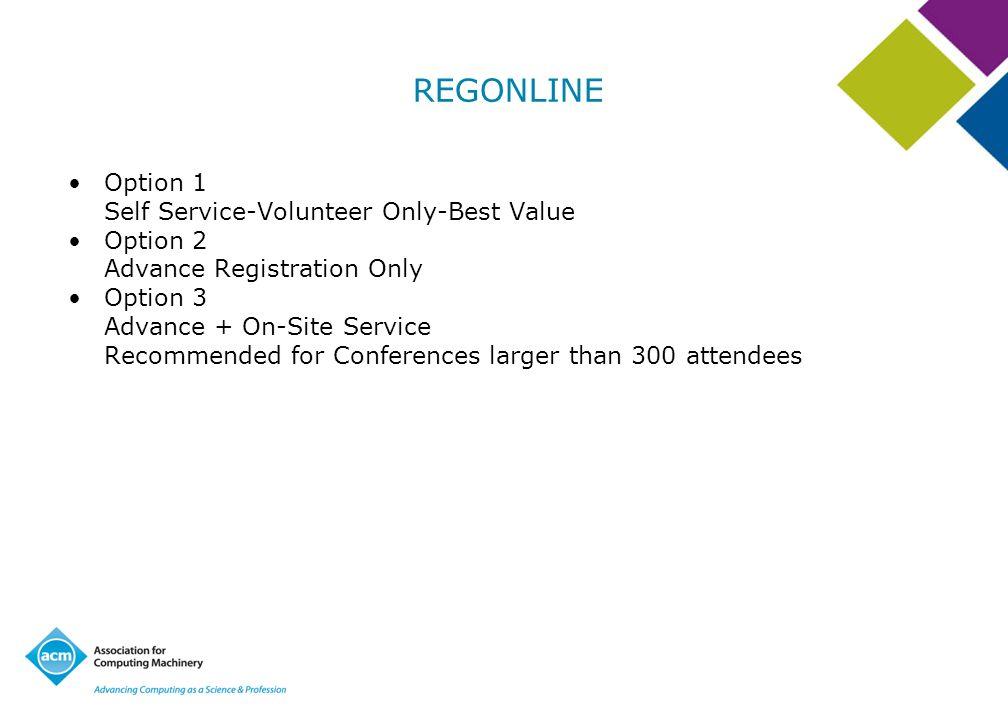REGONLINE Option 1 Self Service-Volunteer Only-Best Value Option 2 Advance Registration Only Option 3 Advance + On-Site Service Recommended for Confer