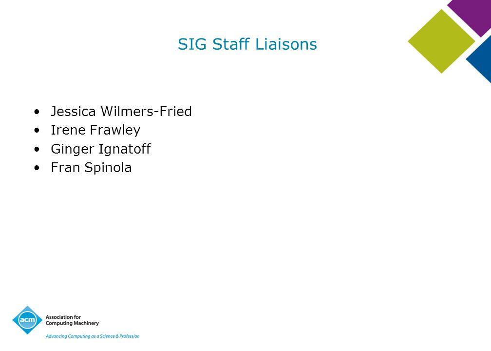 SIG Staff Liaisons Jessica Wilmers-Fried Irene Frawley Ginger Ignatoff Fran Spinola