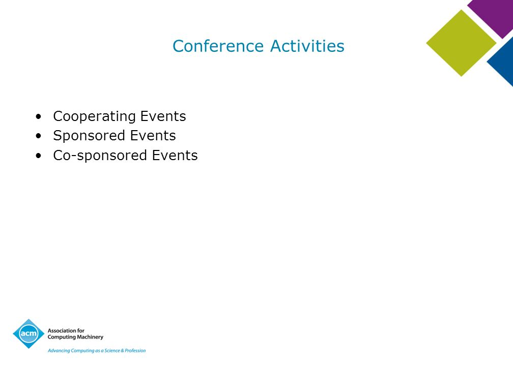Conference Activities Cooperating Events Sponsored Events Co-sponsored Events