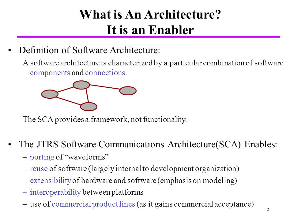 2 Definition of Software Architecture: A software architecture is characterized by a particular combination of software components and connections.