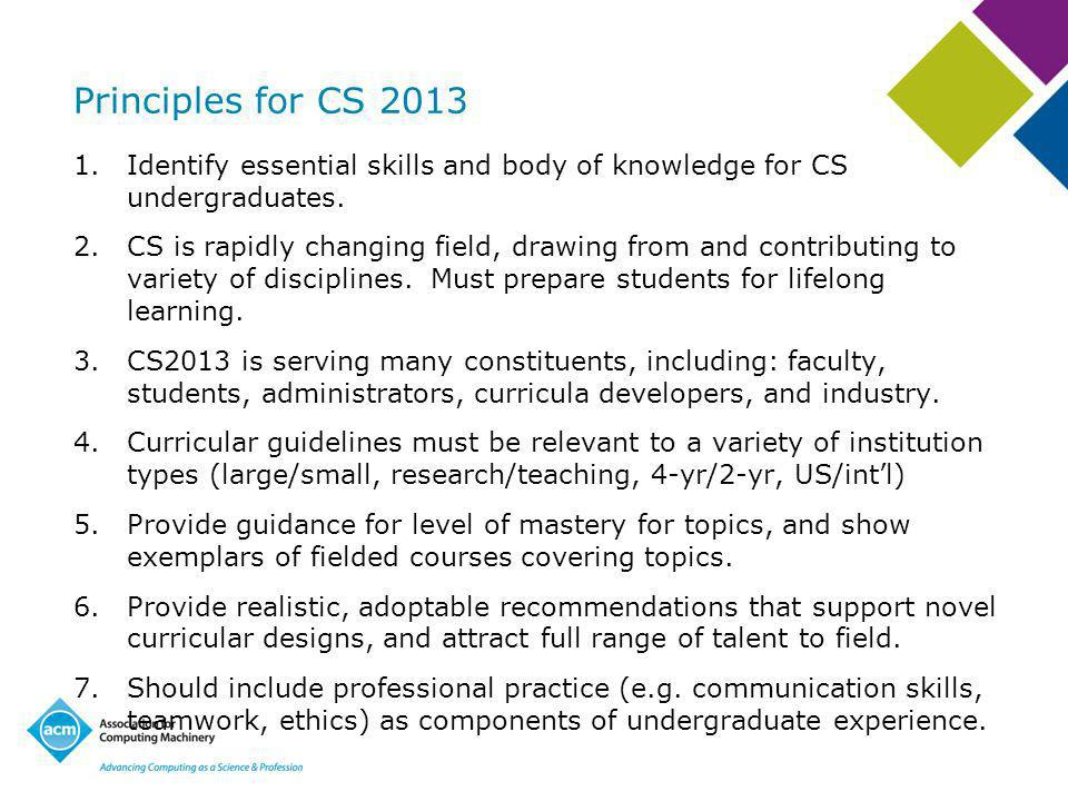 Principles for CS Identify essential skills and body of knowledge for CS undergraduates.
