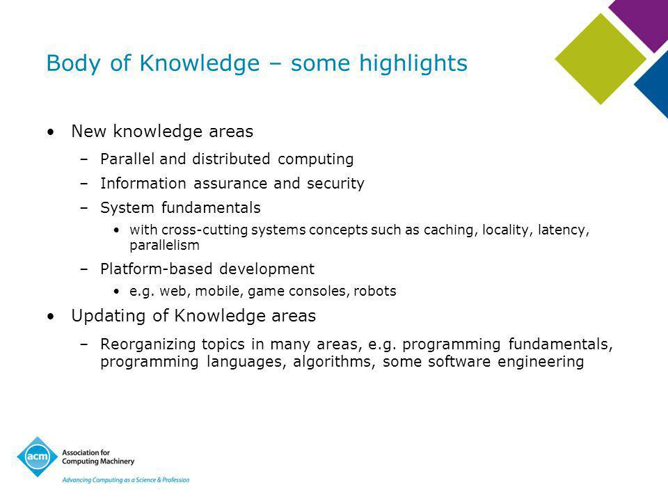 Body of Knowledge – some highlights New knowledge areas –Parallel and distributed computing –Information assurance and security –System fundamentals with cross-cutting systems concepts such as caching, locality, latency, parallelism –Platform-based development e.g.