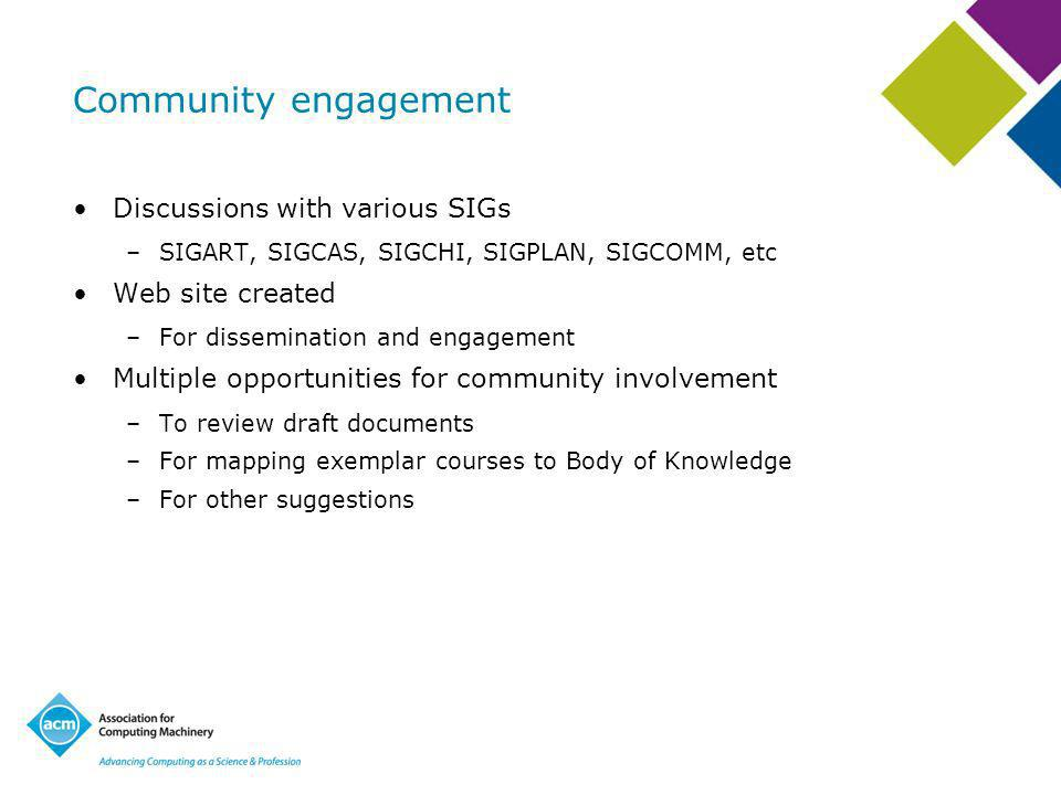 Community engagement Discussions with various SIGs –SIGART, SIGCAS, SIGCHI, SIGPLAN, SIGCOMM, etc Web site created –For dissemination and engagement Multiple opportunities for community involvement –To review draft documents –For mapping exemplar courses to Body of Knowledge –For other suggestions