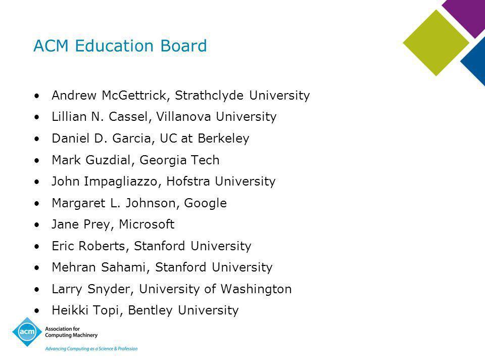 ACM Education Board Andrew McGettrick, Strathclyde University Lillian N.