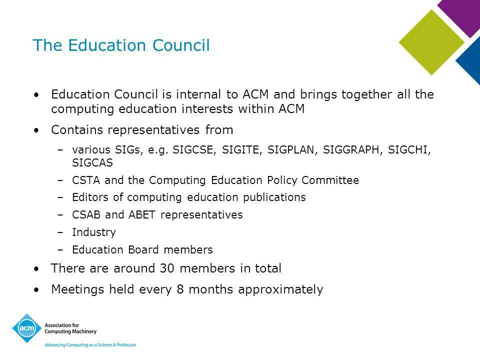 The Education Council Education Council is internal to ACM and brings together all the computing education interests within ACM Contains representatives from –various SIGs, e.g.