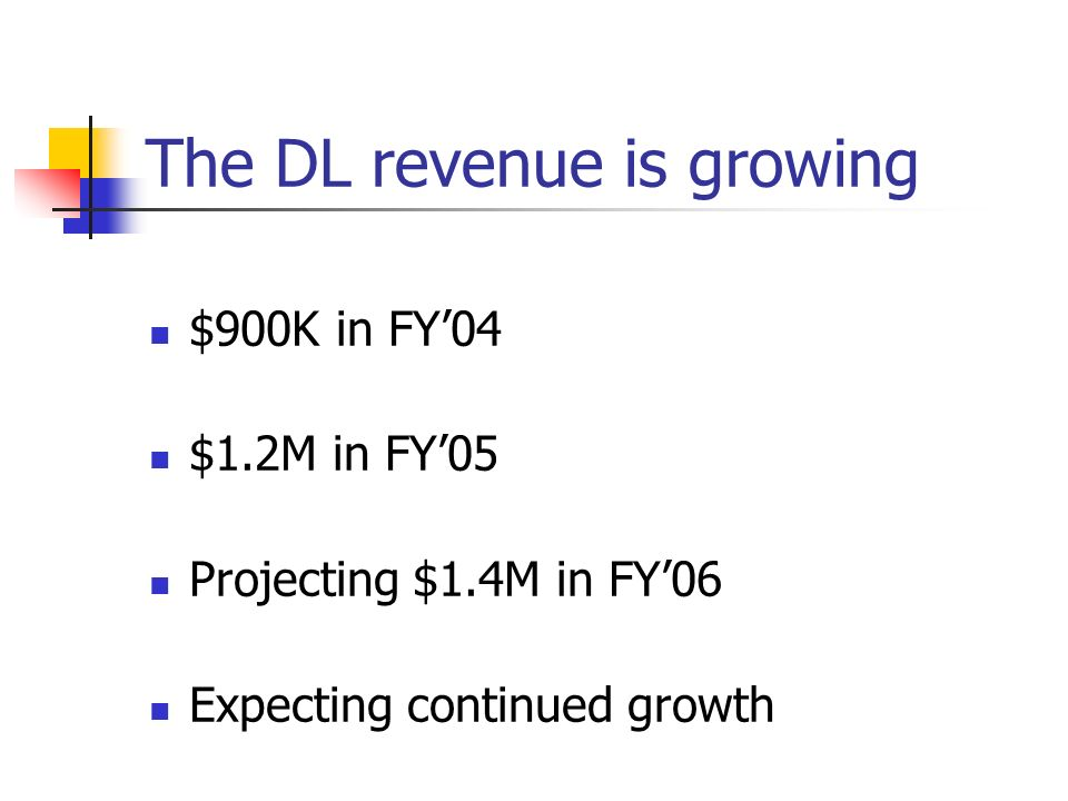 The DL revenue is growing $900K in FY04 $1.2M in FY05 Projecting $1.4M in FY06 Expecting continued growth