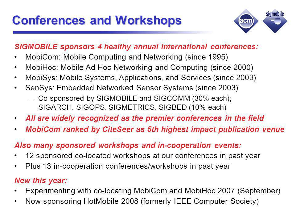 Conferences and Workshops SIGMOBILE sponsors 4 healthy annual international conferences: MobiCom: Mobile Computing and Networking (since 1995) MobiHoc: Mobile Ad Hoc Networking and Computing (since 2000) MobiSys: Mobile Systems, Applications, and Services (since 2003) SenSys: Embedded Networked Sensor Systems (since 2003) –Co-sponsored by SIGMOBILE and SIGCOMM (30% each); SIGARCH, SIGOPS, SIGMETRICS, SIGBED (10% each) All are widely recognized as the premier conferences in the field MobiCom ranked by CiteSeer as 5th highest impact publication venue Also many sponsored workshops and in-cooperation events: 12 sponsored co-located workshops at our conferences in past year Plus 13 in-cooperation conferences/workshops in past year New this year: Experimenting with co-locating MobiCom and MobiHoc 2007 (September) Now sponsoring HotMobile 2008 (formerly IEEE Computer Society)