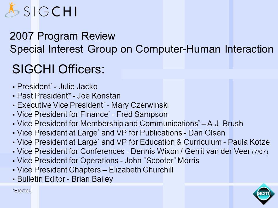 SIGCHI Officers: President * - Julie Jacko Past President* - Joe Konstan Executive Vice President * - Mary Czerwinski Vice President for Finance * - F