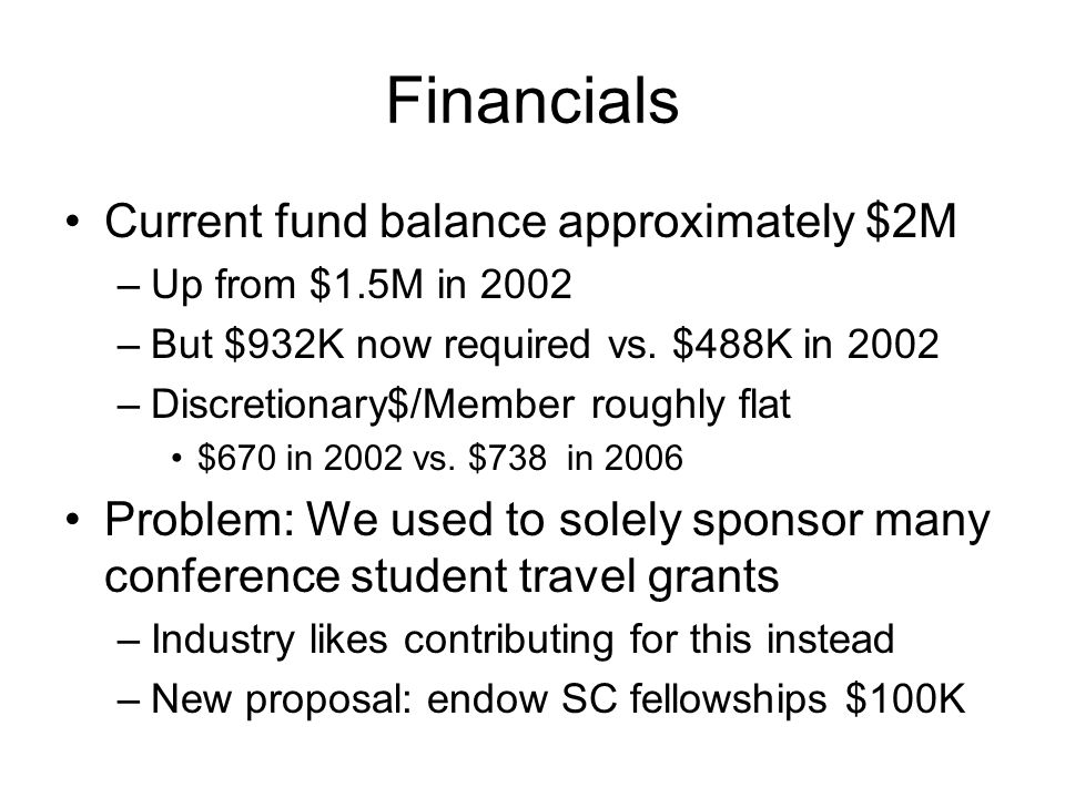 Financials Current fund balance approximately $2M –Up from $1.5M in 2002 –But $932K now required vs.