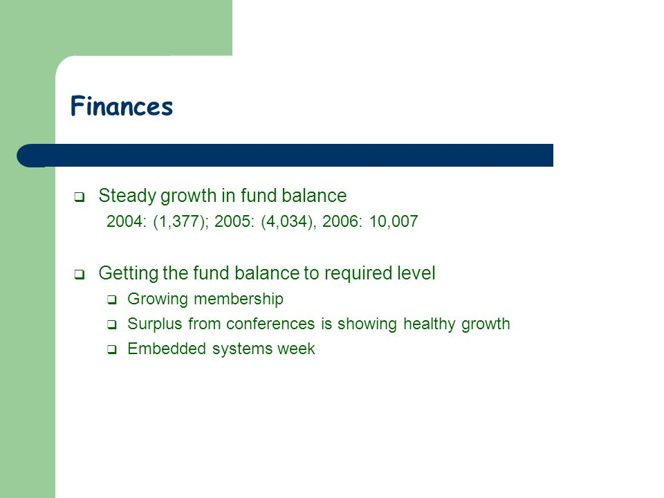 Finances Steady growth in fund balance 2004: (1,377); 2005: (4,034), 2006: 10,007 Getting the fund balance to required level Growing membership Surplu