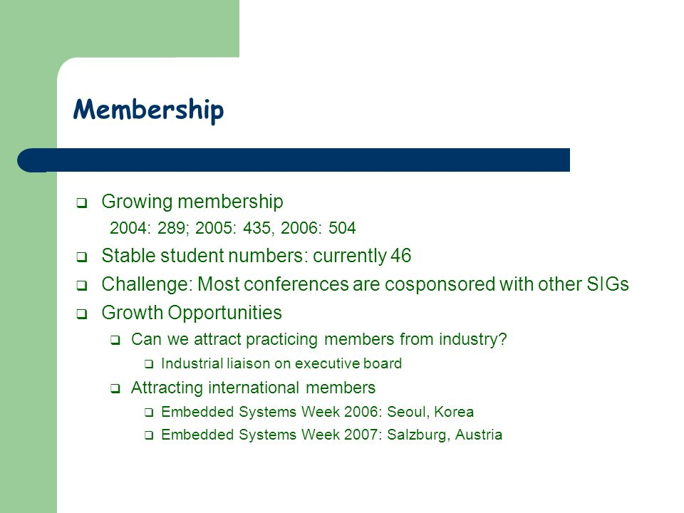 Membership Growing membership 2004: 289; 2005: 435, 2006: 504 Stable student numbers: currently 46 Challenge: Most conferences are cosponsored with ot