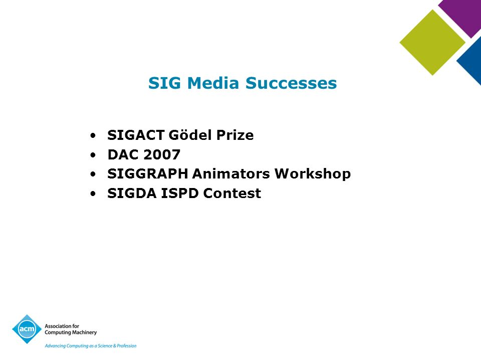 SIG Media Successes SIGACT Gödel Prize DAC 2007 SIGGRAPH Animators Workshop SIGDA ISPD Contest