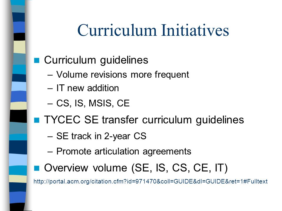 Curriculum Initiatives Curriculum guidelines –Volume revisions more frequent –IT new addition –CS, IS, MSIS, CE TYCEC SE transfer curriculum guideline