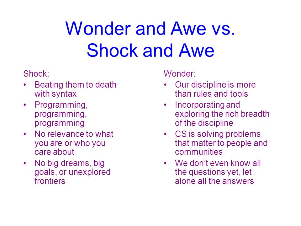 Wonder and Awe vs. Shock and Awe Shock: Beating them to death with syntax Programming, programming, programming No relevance to what you are or who yo