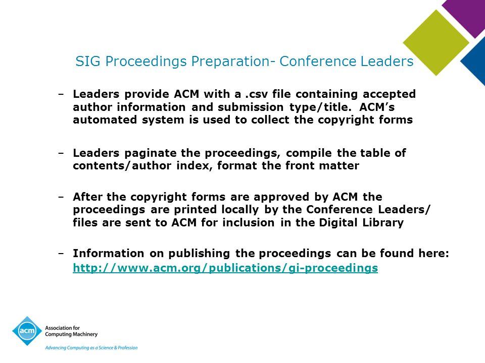 SIG Proceedings Preparation- Conference Leaders –Leaders provide ACM with a.csv file containing accepted author information and submission type/title.