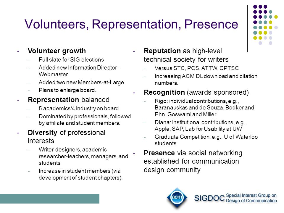 Volunteers, Representation, Presence Reputation as high-level technical society for writers Versus STC, PCS, ATTW, CPTSC Increasing ACM DL download and citation numbers.