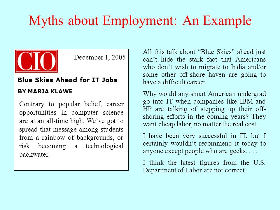 Myths about Employment: An Example Contrary to popular belief, career opportunities in computer science are at an all-time high.