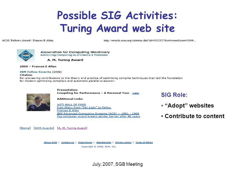 July, 2007, SGB Meeting Possible SIG Activities: Turing Award web site SIG Role: Adopt websites Contribute to content