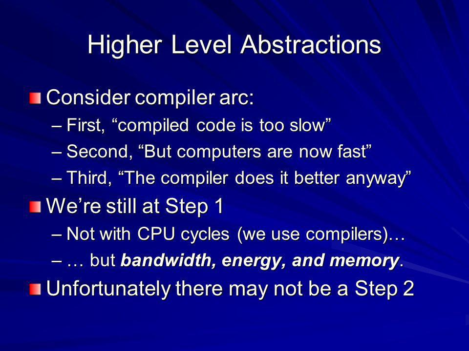 Higher Level Abstractions Consider compiler arc: –First, compiled code is too slow –Second, But computers are now fast –Third, The compiler does it better anyway Were still at Step 1 –Not with CPU cycles (we use compilers)… –… but bandwidth, energy, and memory.
