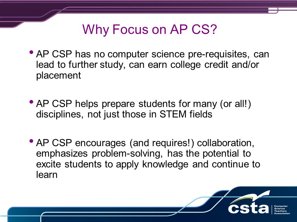 Why Focus on AP CS.