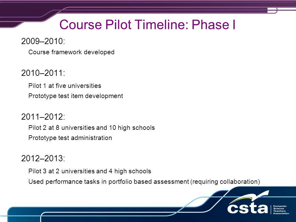 Course Pilot Timeline: Phase I 2009–2010: Course framework developed 2010–2011: Pilot 1 at five universities Prototype test item development 2011–2012: Pilot 2 at 8 universities and 10 high schools Prototype test administration 2012–2013: Pilot 3 at 2 universities and 4 high schools Used performance tasks in portfolio based assessment (requiring collaboration)