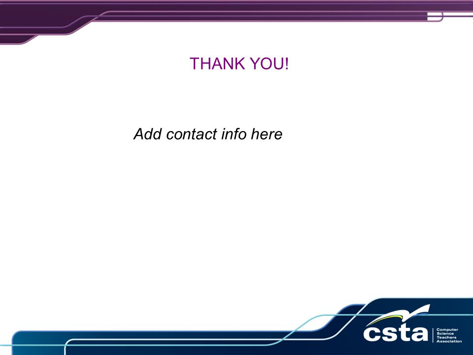 THANK YOU! Add contact info here