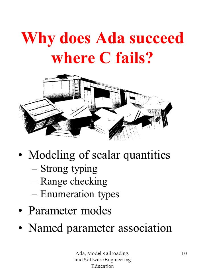 Ada, Model Railroading, and Software Engineering Education 10 Why does Ada succeed where C fails.