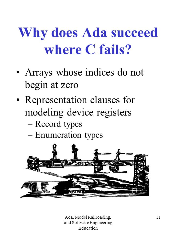 Ada, Model Railroading, and Software Engineering Education 11 Why does Ada succeed where C fails.