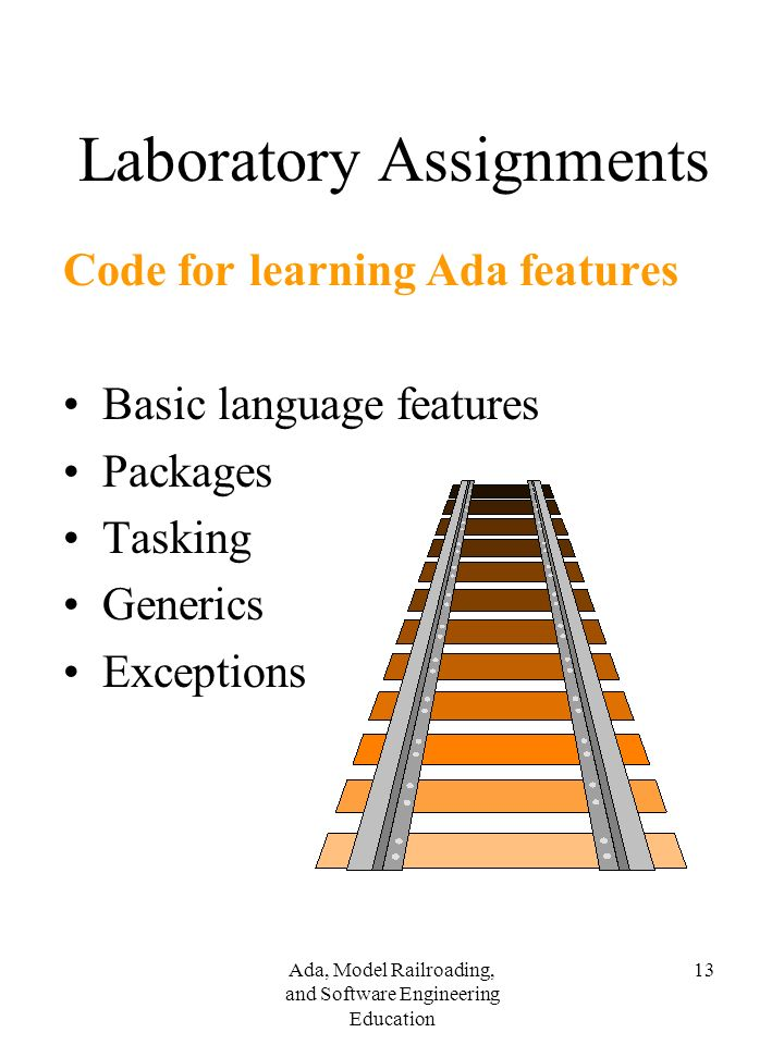 Ada, Model Railroading, and Software Engineering Education 13 Laboratory Assignments Code for learning Ada features Basic language features Packages Tasking Generics Exceptions
