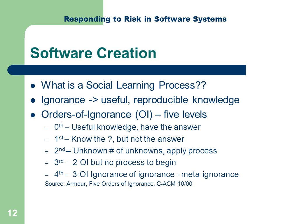 Responding to Risk in Software Systems 12 Software Creation What is a Social Learning Process .