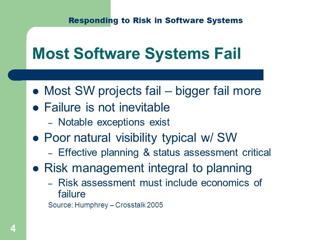 Responding to Risk in Software Systems 15 Lessons-Learned Air Traffic Control Failure New FBI Software Unusable Unsafe Automotive Ignition Framework for Dependable Designs Dependable Ignition System Example