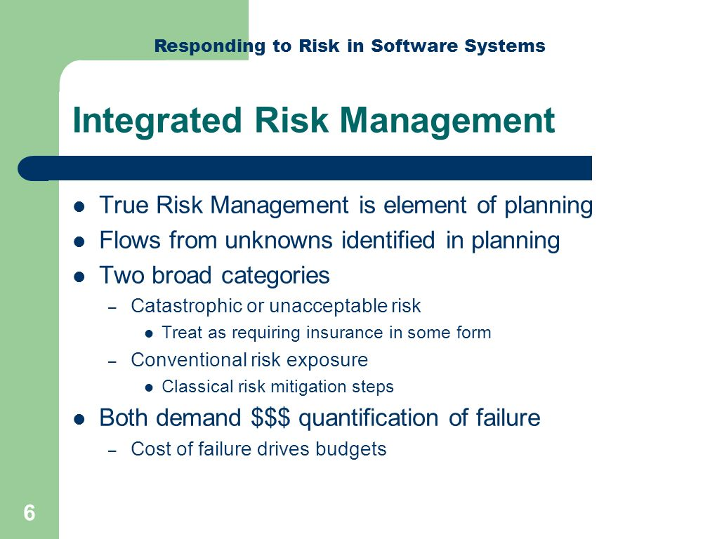 Responding to Risk in Software Systems 17 New FBI Software Unusable New Anti-terrorism software – Virtual Case File..