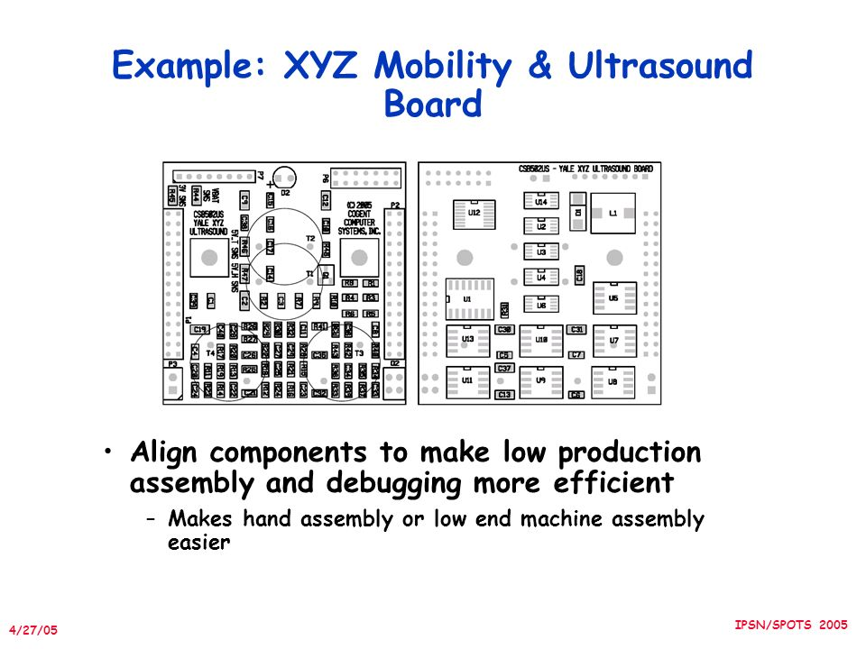 4/27/05 IPSN/SPOTS 2005 Example: XYZ Mobility & Ultrasound Board Align components to make low production assembly and debugging more efficient –Makes hand assembly or low end machine assembly easier