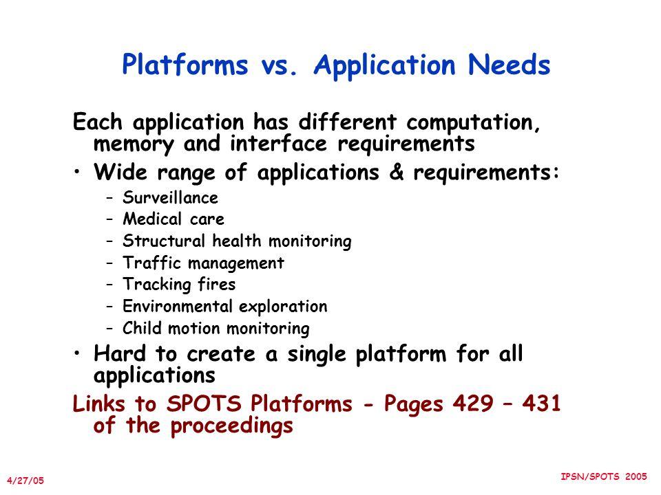 4/27/05 IPSN/SPOTS 2005 Platforms vs.