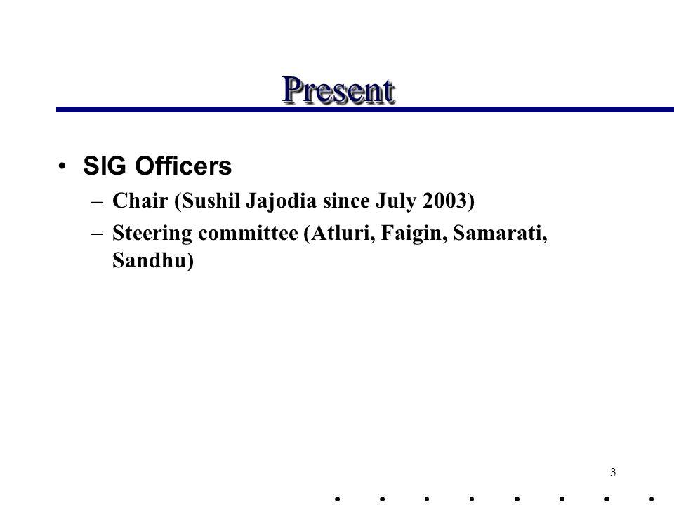 3 PresentPresent SIG Officers –Chair (Sushil Jajodia since July 2003) –Steering committee (Atluri, Faigin, Samarati, Sandhu)
