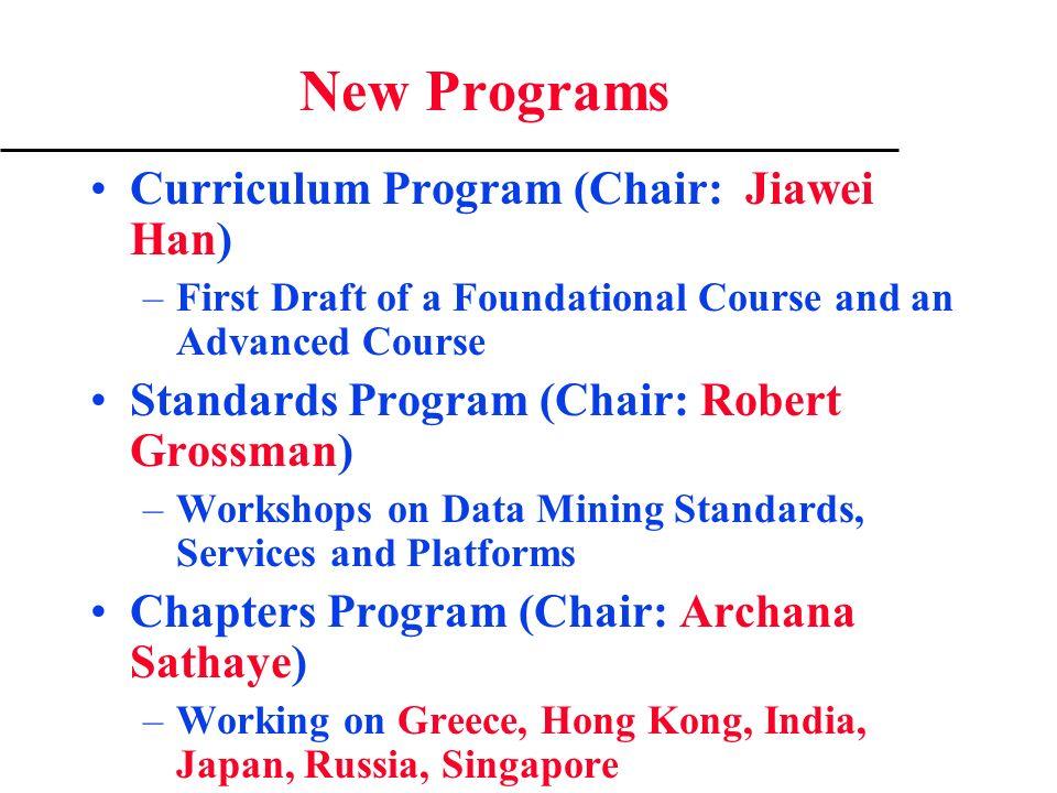 New Programs Curriculum Program (Chair: Jiawei Han) –First Draft of a Foundational Course and an Advanced Course Standards Program (Chair: Robert Gros